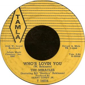 The Miracles - 'Who's Lovin You' label 600x598