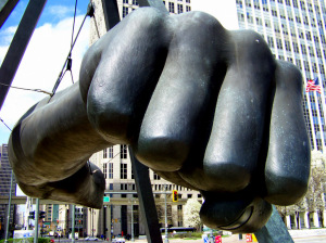 21 Joe Louis Fist sculpture in the middle of the Woodward and Jefferson Avenue intersection III