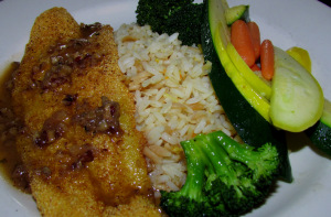 9 Toms Oyster Bar Pan Fried Catfish with Rice and Veggies