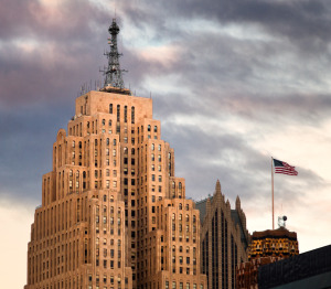 Penobscot Building at dusk