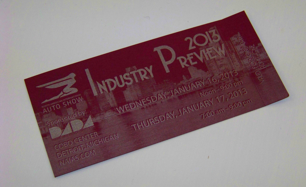 NAIAS 2013 Industry Preview Ticket
