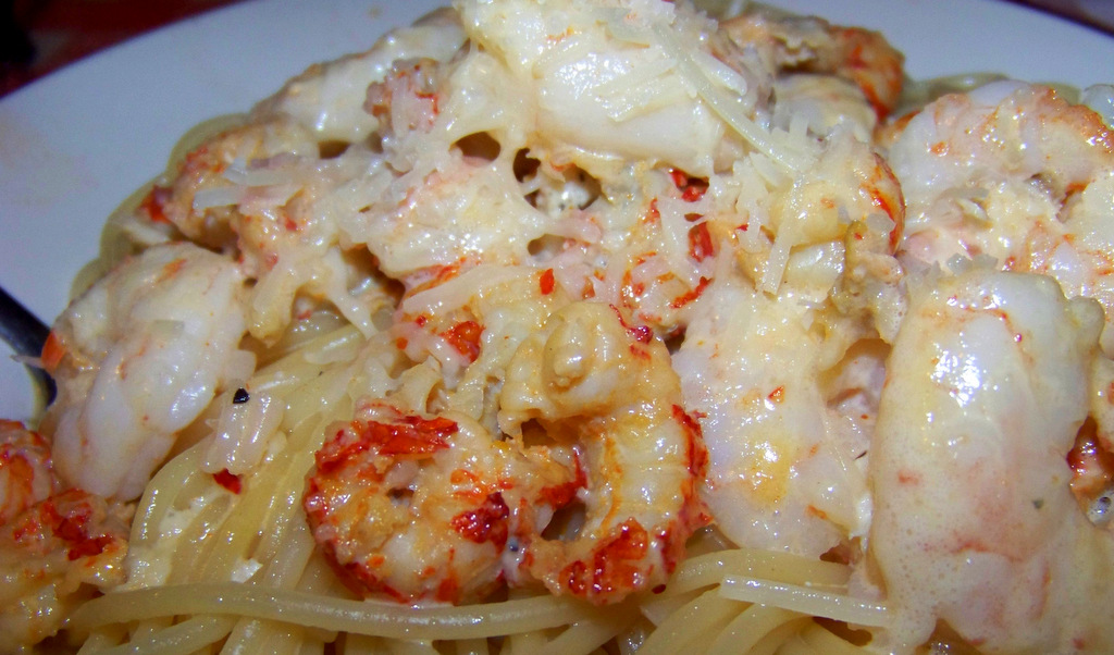 Adolfos Shrimp and Crawfish Pasta with Alfredo
