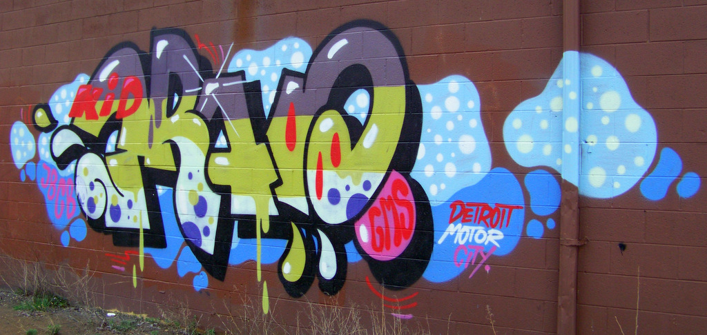 New Detroit Graffiti @ Southbound Lodge Freeway Service Drive & Clairmount Street