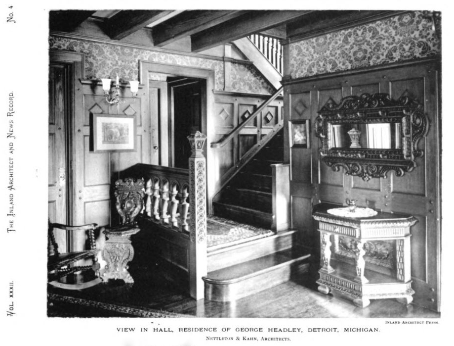 [Below: Two Historical Photos Of The George Headley Residence Reprinted  From The November 1898 Issue Of U201cThe Inland Architect And News Recordu201d.]
