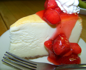 New York Style Cheesecake with Strawberries at Uncle Harrys Deli