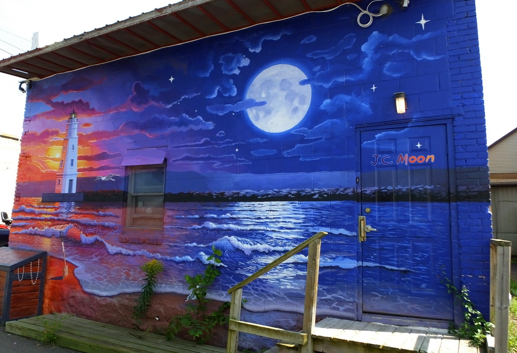 I love detroit michigan the history murals of ashland for Blue moon mural